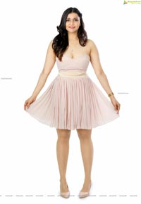 Mannara Chopra in Baby Pink Pleated Mini Dress
