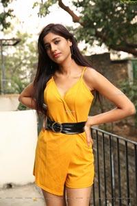 Naziya Khan at Yellow Spaghetti Strap Mini Dress