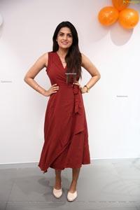 Ritu Biradar in Maroon Front Tie Knot Dress