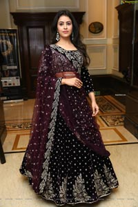 Shobhita Rana in Maroon Velvet Embroidered Lehenga Choli