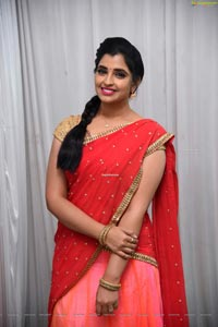 Shyamala in Pink and Red Half Saree