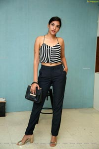 Supraja Narayan in Black and White Stripes Crop Top