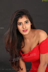 Aishwarya T Reddy in Red Bodycon Mini Dress Exclusive