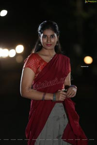 Akhila Ram in Gray and Maroon Half Saree