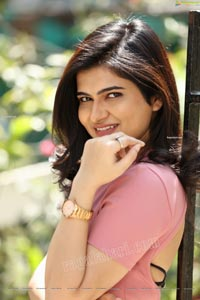 Kajal Sharma Exclusive in Pink Crop Top and Denim Shorts