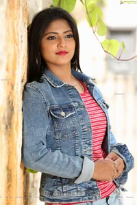 Shabeena Shaik in Trendy Denim Jacket Over Pink Striped Top
