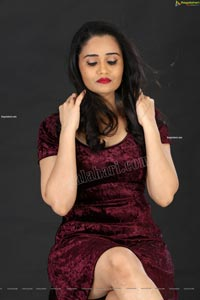 Usha Kurapati in Burgundy Bodycon Dress