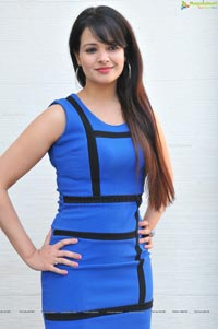 Saloni in Short Blue Dress