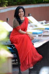 Singer Sunitha Red Saree