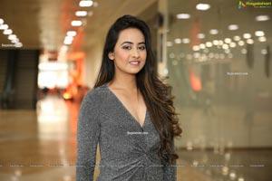 Ameeksha Pawar in Gray Glitter-Knit Dress