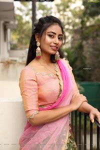 Honey Chowdary in Pink and Green Lehenga Choli
