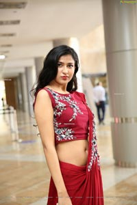 Riya Singh in Dazzling Red Designer Saree