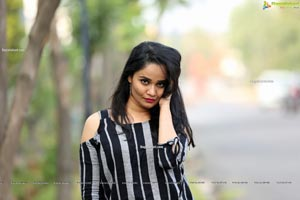 Usha Kurapati in Grey And Black Stripes Cold Shoulders Top