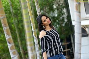Usha Kurapati in Grey And Black Stripes Cold Shoulders Top