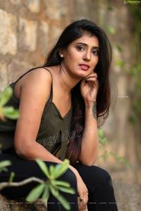 Aishwarya T in Military Green Crop Top Exclusive