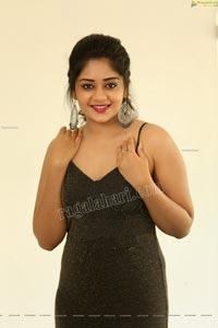 Deepa Umapathy in Black Silver Glittery Jumpsuit