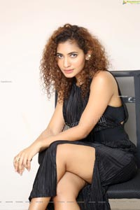 Gnaneswari Kandregula in Black Thigh High Slit Dress