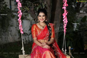 Jenny Honey in Red Embellished Lehenga Choli