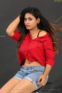 Priyanka Augustin in Button Down Crop Top and Denim Shorts