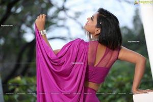 Priyanka Augustin in Purplish Pink Saree Exclusive