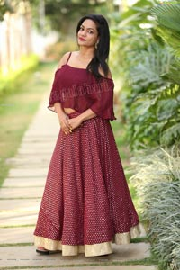 Sailaja in Burgundy Spaghetti Strap Cami Top and Skirt