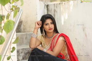 Shabeena Shaik in Black and Red Half Saree