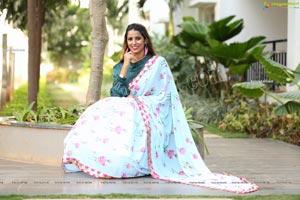 Shraavya Reddy in Mint Green Saree Exclusive