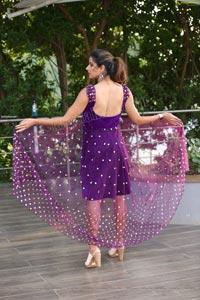 Shraavya Reddy in Purple Velvet Mini Dress