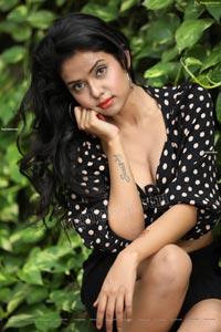 Swati Mandal in Black Front Tie Crop Top and Mini Skirt