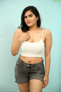 Tara Chowdary in White Crop Top and Shorts Exclusive