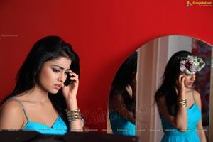 Shriya in Sleeveless Blue Dress