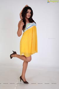 Tashu Kaushik in Shoulderless Yellow Dress