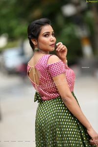 Sanjana Anne in Green and Pink Floor Length Dress