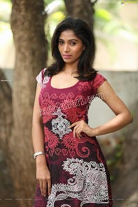 Swetha Mathi Red Printed Frock Exclusive Photo Shoot