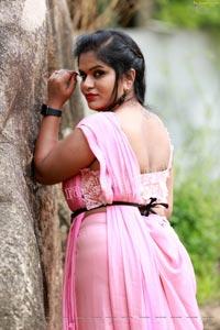 Tripura Nimmagadda in Pink Dhoti Saree
