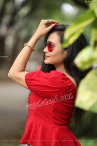 VJ Jaanu in Red Off Shoulder Peplum Top