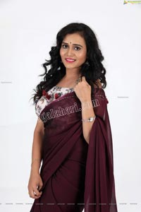 VJ Jaanu in Wine Silk Saree Exclusive Photo Shoot