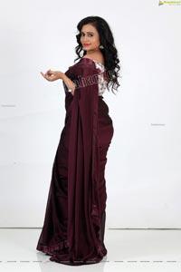 VJ Jaanu in Wine Silk Saree Exclusive Photo Shoot