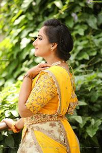 Madhu Krishnan in Cream and Yellow Lehenga Choli