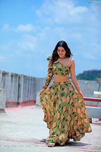 Payal Rajput in Green Floral Skirt