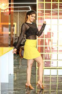 Sanjana Anand in Black Net Top and Yellow Mini Skirt