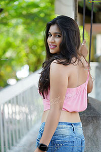 Honey Royal in Pink One-Shoulder Top and Jeans, Exclusive