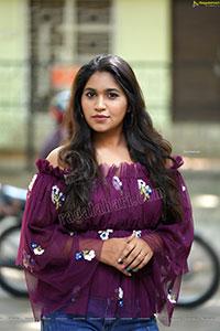 Honey Royal in Dark Purple Peplum Top and Jeans