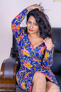 Sanjana Naidu in Dark Blue Floral Dress