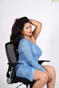 Sanjana Naidu in Light Blue One Shoulder Sequin Bodycon
