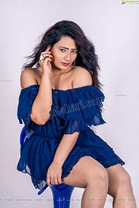Sanjana Naidu in Royal Blue Ruffle Frill Mini Dress