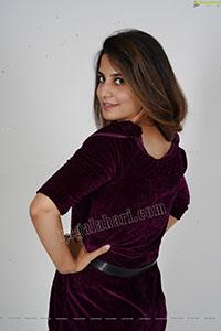 Model Tejal Tammali in Purple Velvet Jumpsuit
