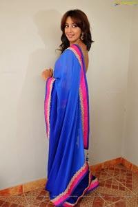 Sanjana posing in low back saree blouse