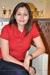 Photos of Jwala Gutta at Hyderabad Omega Watch Shop