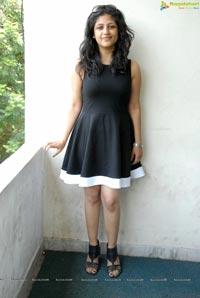 Supriya in Black Sleeveless Frock